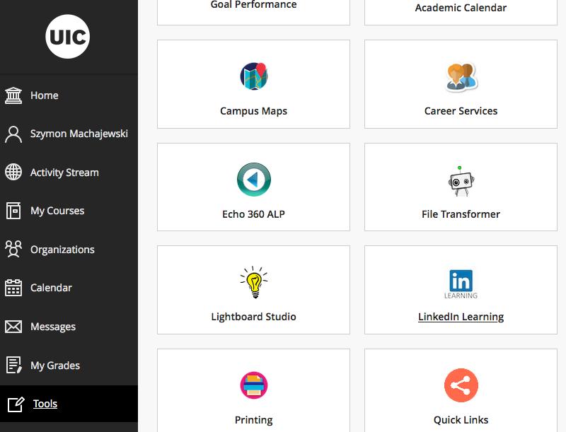 example Blackboard Home menu tools view