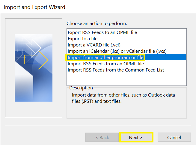 import from another program or file option