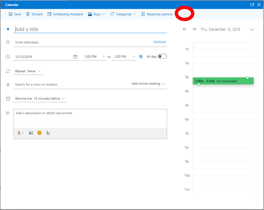 outlook web interface new event screen highlighting ellipses at far right of navigation