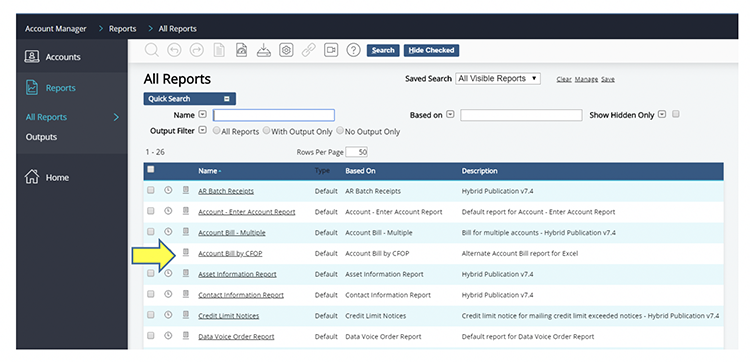 example all reports listing