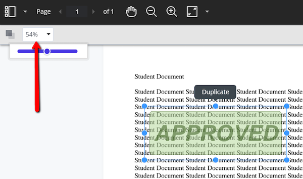 showing the stamp feature on the page and the transparency slider used to adjust