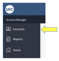 Where to find accounts in menu