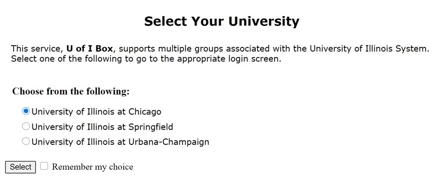 select your university screen