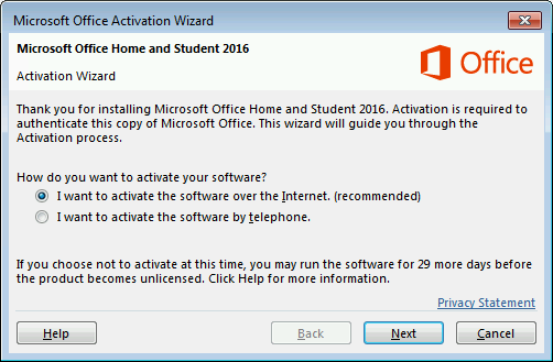 Office Activation Wizard screen